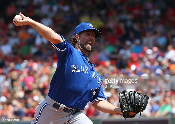 A Dickey of the Toronto Blue Jays throws against the Boston Red Sox throws in the first inning at Fenway Park on June 13 2015 in Boston Massachusetts