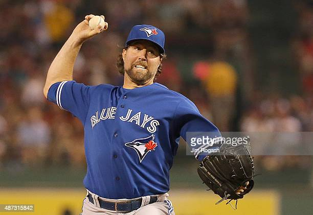 A Dickey of the Toronto Blue Jays throws against the Boston Red Sox in the fourth inning at Fenway Park on September 8 2015 in Boston Massachusetts