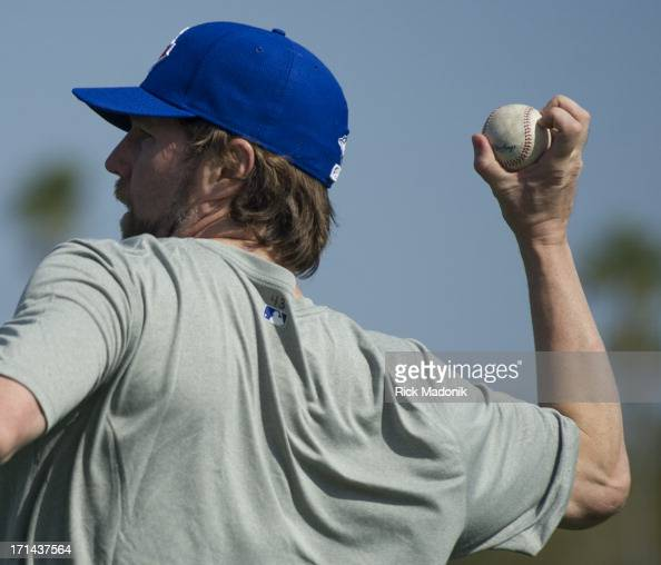 Dickey the newly acquired knuckle ball ace for the Toronto Blue Jays goes through a light work out today Monday February 11 at Florida Auto Exchange...