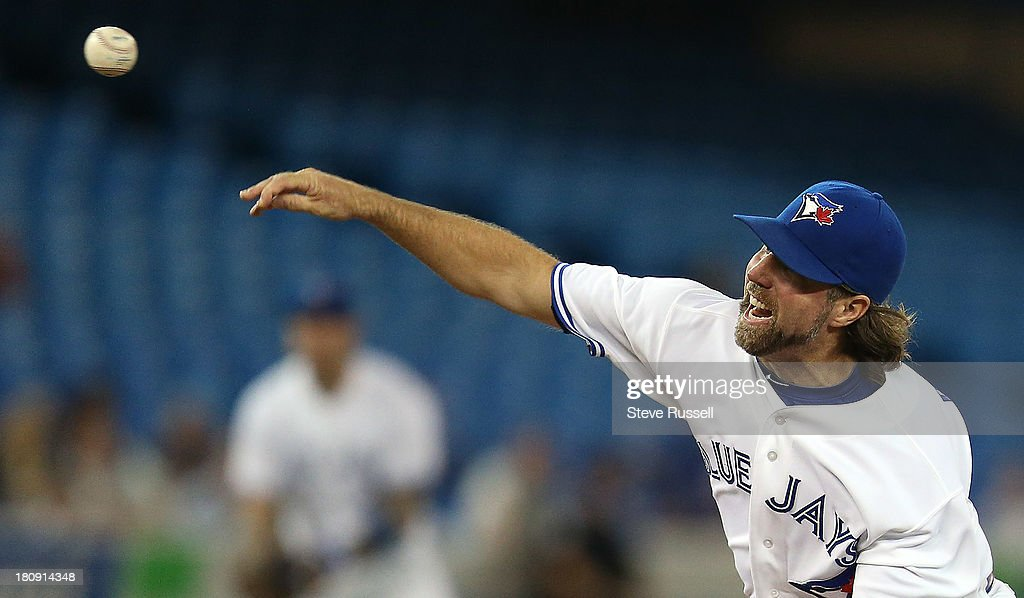 A. Dickey threw seven scoreless innings as the Toronto Blue Jays beat the New York Yankees 2-0 at Rogers Centre in Toronto, September 17, 2013.