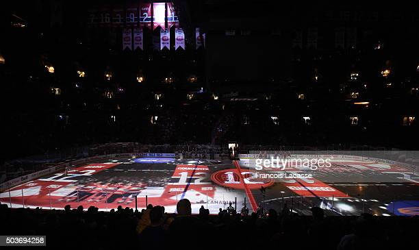 Dickie Moore ceremony prior to the NHL game between the Montreal Canadiens and the New Jersey Devils at the Bell Centre on January 6 2015 in Montreal...