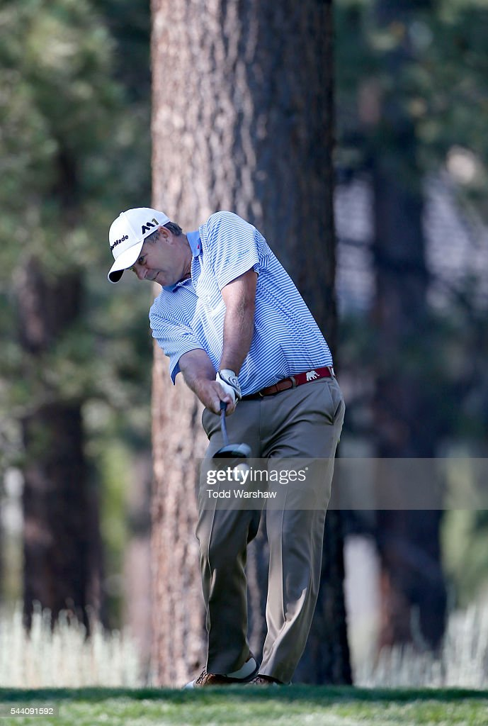 Dicky Pride plays his shot from the eighth tee during the second round of the Barracuda Championship at the Montreux Golf and Country Club on July 1, 2016 in Reno, Nevada.