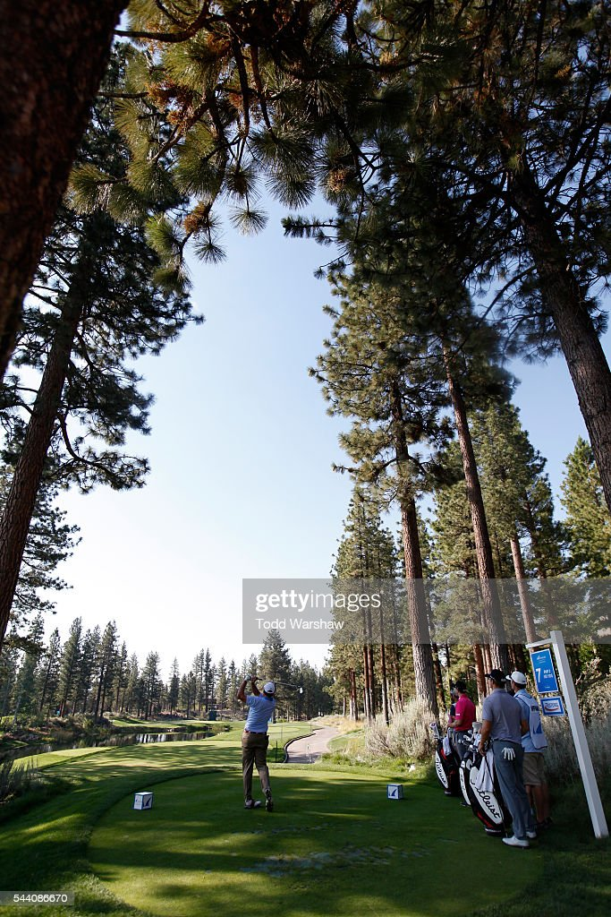 Dicky Pride plays his shot from the seventh tee during the second round of the Barracuda Championship at the Montreux Golf and Country Club on July 1, 2016 in Reno, Nevada.