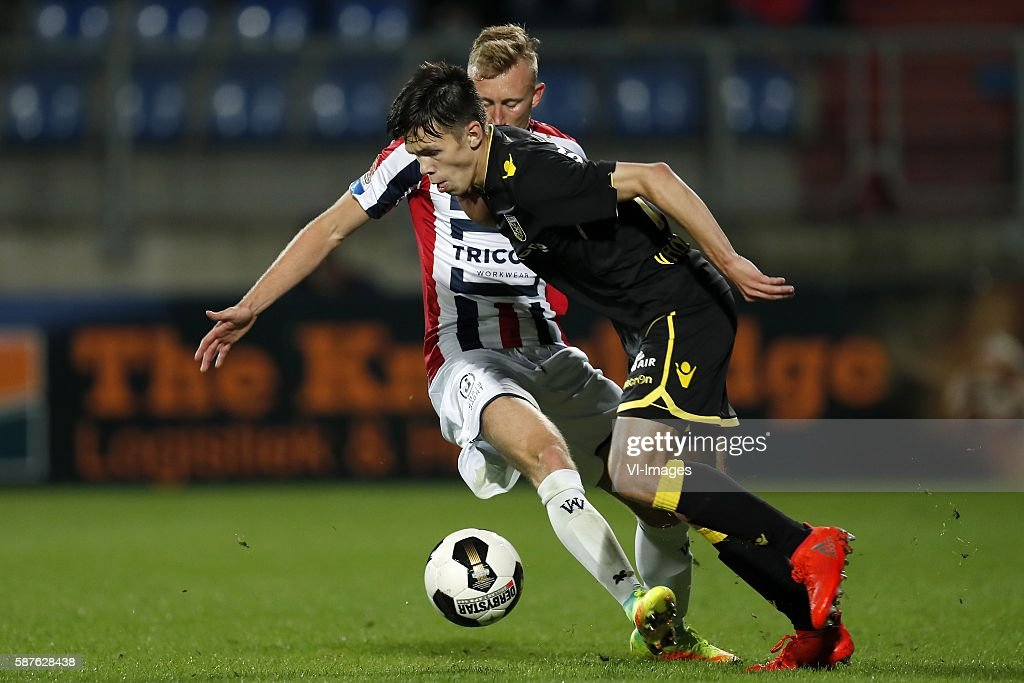 Dico Koppers of Willem II Mitchell van Bergen of Vitesse during the Dutch Eredivisie match between Willem II and Vitesse on august 6 2016 at the...