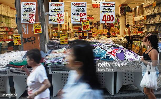 Dicounted items are displayed for sale in the Saara discount shopping district on April 5 2016 in Rio de Janeiro Brazil Brazil is in the midst of...
