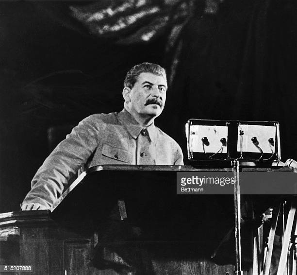 Dictator of Soviet Russia Joseph Stalin addresses voters of the Stalin election district in Moscow on the even of the election in which Russians...