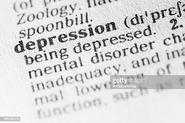 Dictionary definition of depression in black type
