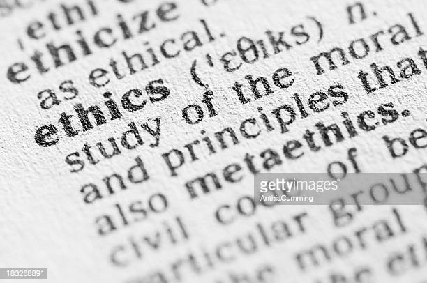 Dictionary definition of ethics in black type