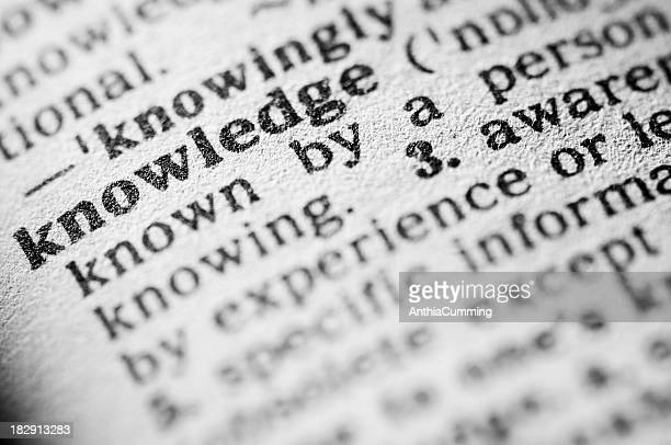 Dictionary definition of knowledge in black type
