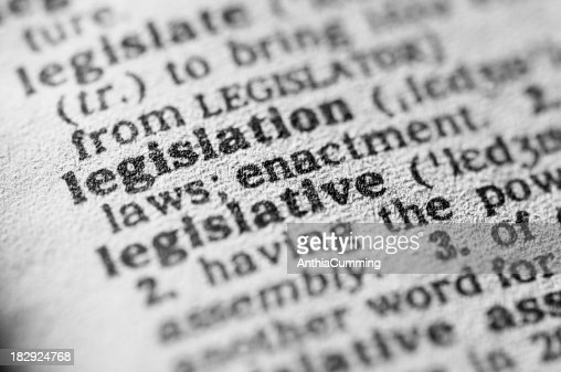 Dictionary definition of legislation in black type