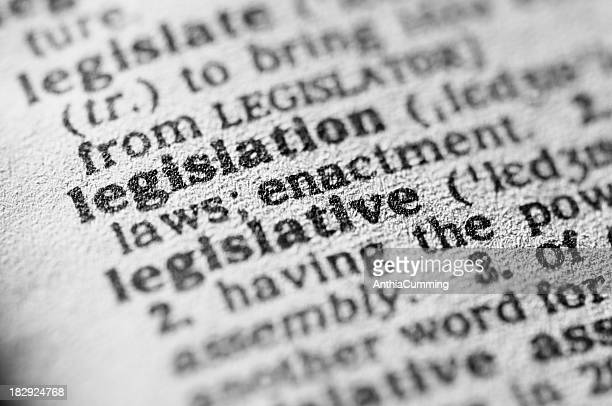 Dictionary definition of legislation in black type