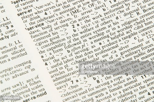辞書サービス、内容の定義。