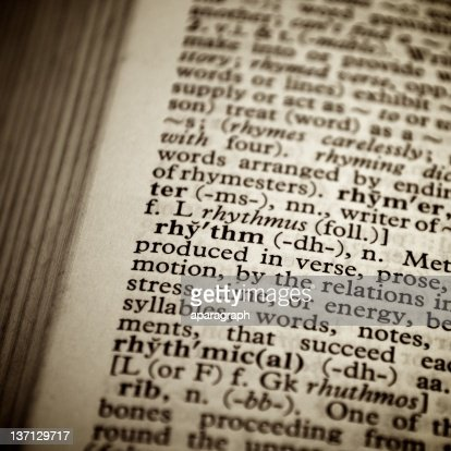 Quot Definition Mesmerizing Dictionary Definition Of The Word Quotrhythmquot Stock Photo