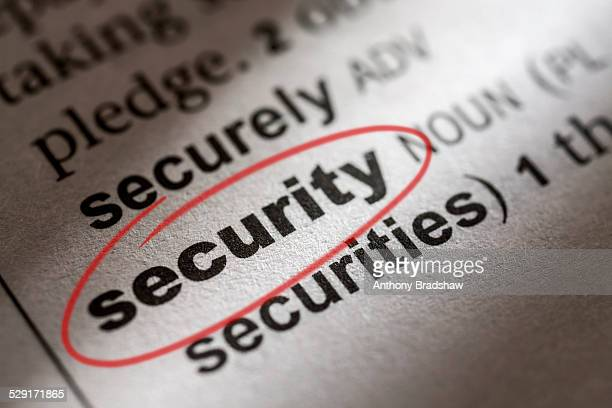 Dictionary entry for security