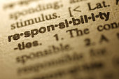 "Selective focus on the word "" Responsibility "",shot with very shallow depth of field."