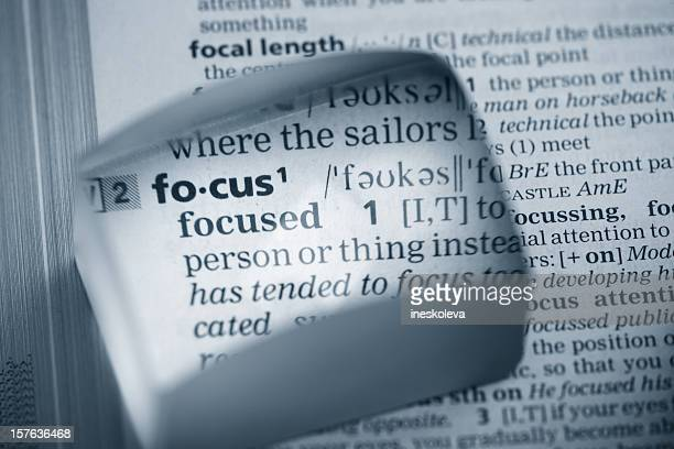 Dictionary word focus in a magnifying glass