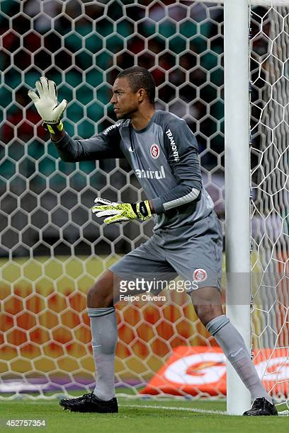 Dida of Internacional in action during the match between Bahia and Internacional as part of Brasileirao Series A 2014 at Arena Fonte Nova on July 26...