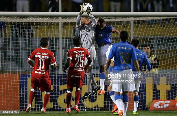 Dida of Internacional saves the ball during the match between Palmeiras and Internacional for the Brazilian Series A 2014 at Estadio do Pacaembu on...