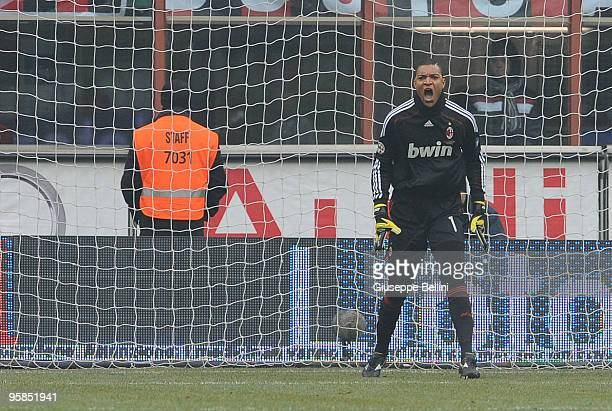 Dida of Milan in action during the Serie A match between Milan and Siena at Stadio Giuseppe Meazza on January 17 2010 in Milan Italy