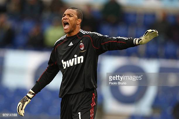 Dida the goalkeeper of AC Milan shouts during the Serie A match between SS Lazio and AC Milan at Stadio Olimpico on November 8 2009 in Rome Italy
