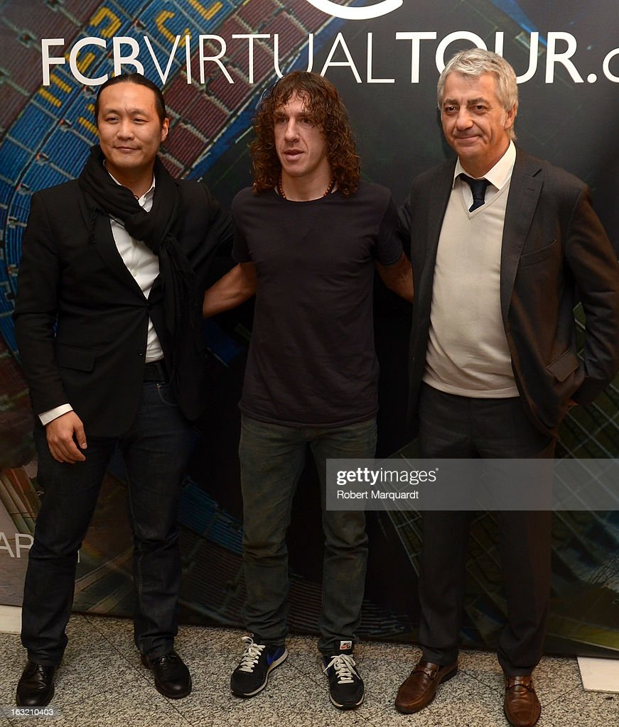 Didac Lee, <a gi-track='captionPersonalityLinkClicked' href=/galleries/search?phrase=Carles+Puyol&family=editorial&specificpeople=211383 ng-click='$event.stopPropagation()'>Carles Puyol</a> and Salvador Garcia attend the press presentation of the 'FCBVirtualTour' at Camp Nou on March 6, 2013 in Barcelona, Spain. The online virtual tour will allow users to view and interact with digital content of the Barcelona Football Club facilities.