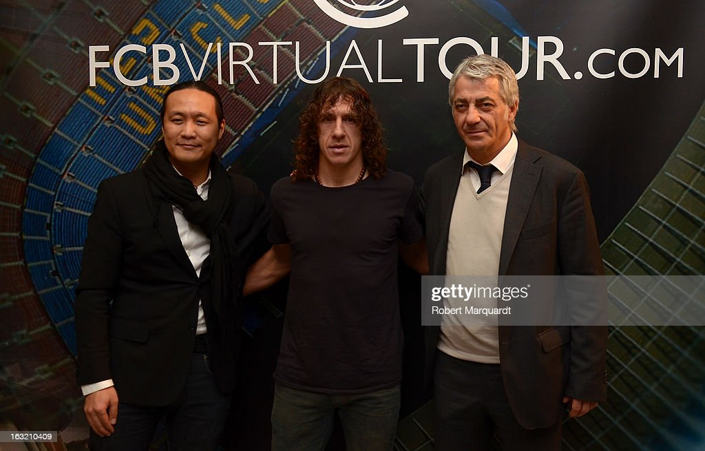 Didac Lee, <a gi-track='captionPersonalityLinkClicked' href=/galleries/search?phrase=Carles+Puyol&family=editorial&specificpeople=211383 ng-click='$event.stopPropagation()'>Carles Puyol</a> and Salvador Garcia attend the press presentation of the 'FCBVirtualTour' at Camp Nou on March 6, 2013 in Barcelona, Spain.