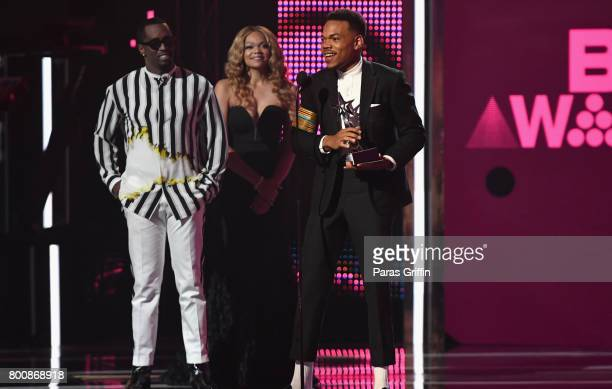 Diddy and Chance The Rapper onstage at 2017 BET Awards at Microsoft Theater on June 25 2017 in Los Angeles California