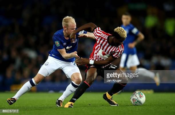 Dider N'dong of Sunderland and Davy Klaassen of Everton battle for possession during the Carabao Cup Third Round match between Everton and Sunderland...