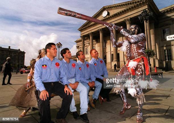 A didgeridoo fanfare announces the arrival of the 'Kooris'the all Aboriginal Australian Amateur Rugby League tourists in Great Britain for a Test...