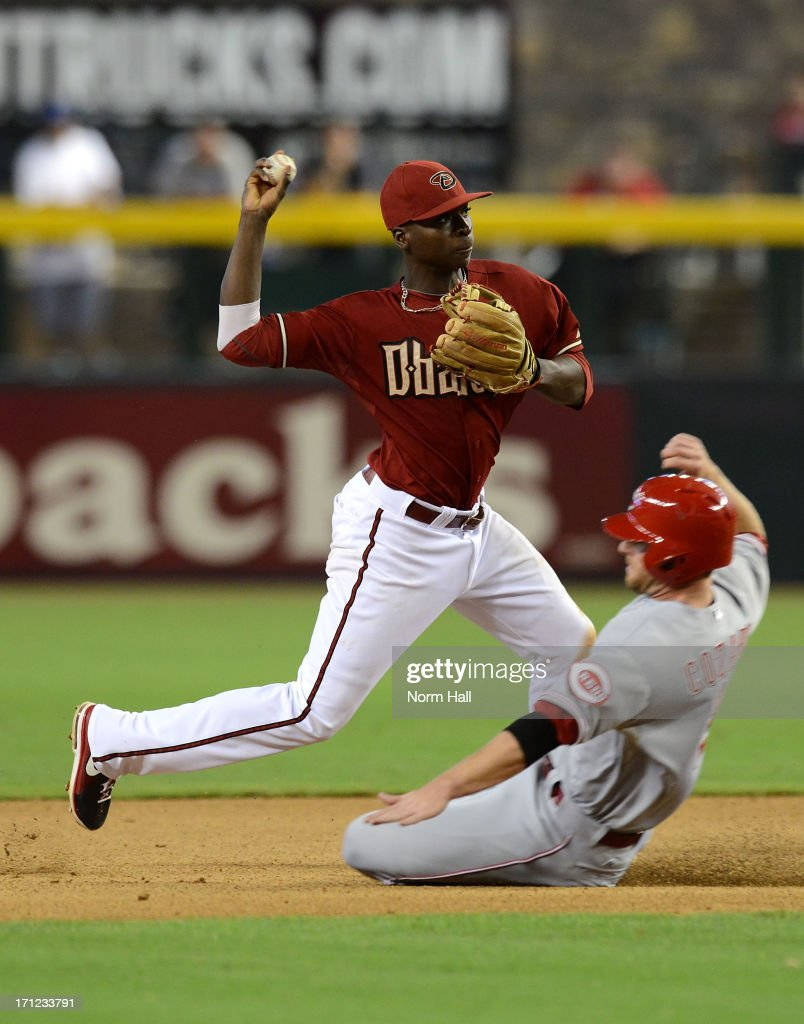 <a gi-track='captionPersonalityLinkClicked' href=/galleries/search?phrase=Didi+Gregorius&family=editorial&specificpeople=8945889 ng-click='$event.stopPropagation()'>Didi Gregorius</a> #1 of the Arizona Diamondbacks attempts to turn a double play as Zach Cozart #2 of the Cincinnati Reds slides into second base at Chase Field on June 23, 2013 in Phoenix, Arizona.