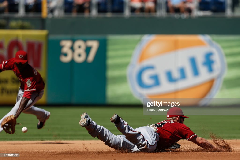 <a gi-track='captionPersonalityLinkClicked' href=/galleries/search?phrase=Didi+Gregorius&family=editorial&specificpeople=8945889 ng-click='$event.stopPropagation()'>Didi Gregorius</a> #1 of the Arizona Diamondbacks backs up <a gi-track='captionPersonalityLinkClicked' href=/galleries/search?phrase=Matt+Davidson+-+Baseball+Player&family=editorial&specificpeople=15052724 ng-click='$event.stopPropagation()'>Matt Davidson</a> #24 after Davidson attempted to stop a Kevin Frandsen #28 of the Philadelphia Phillies hit in the fourth inning of the game at Citizens Bank Park on August 25, 2013 in Philadelphia, Pennsylvania.