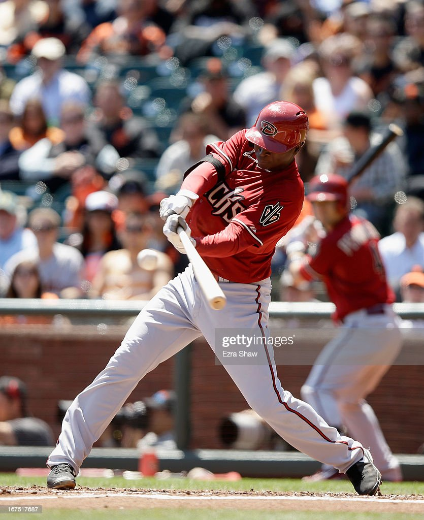 Didi Gregorius #1 of the Arizona Diamondbacks bats against the San Francisco Giants at AT&T Park on April 24, 2013 in San Francisco, California.