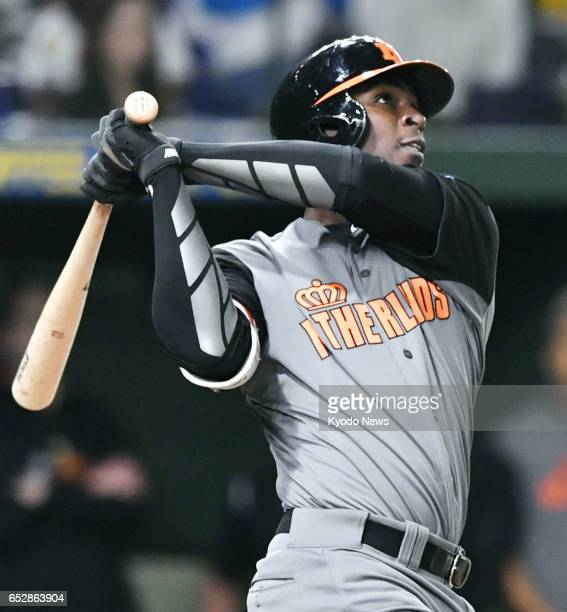 Didi Gregorius of the Netherlands blasts a threerun homer against Israel in the fourth inning of a World Baseball Classic secondround Pool E match at...