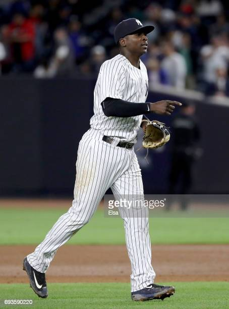 Didi Gregorius of the New York Yankees celebrates the 80 win over the Boston Red Sox on June 7 2017 at Yankee Stadium in the Bronx borough of New...