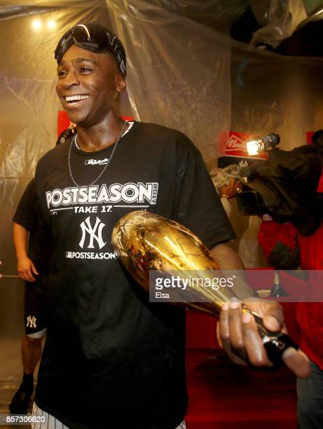 Didi Gregorius of the New York Yankees celebrates the win over the Minnesota Twins during the American League Wild Card Game at Yankee Stadium on...
