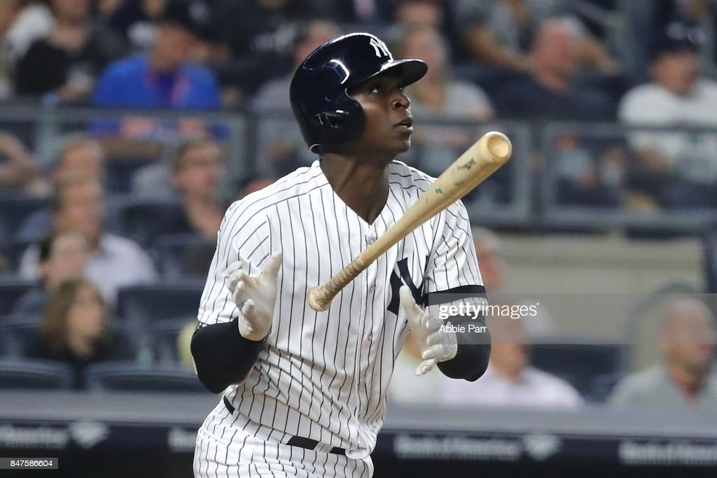 Didi Gregorius #18 of the New York Yankees reacts after hitting a two run home run against the Baltimore Orioles in the fifth inning on September 15, 2017 at Yankee Stadium in the Bronx borough of New York City.