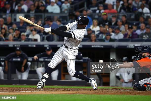 Didi Gregorius of the New York Yankees swings at a pitch during the third inning against the Houston Astros in Game Five of the American League...