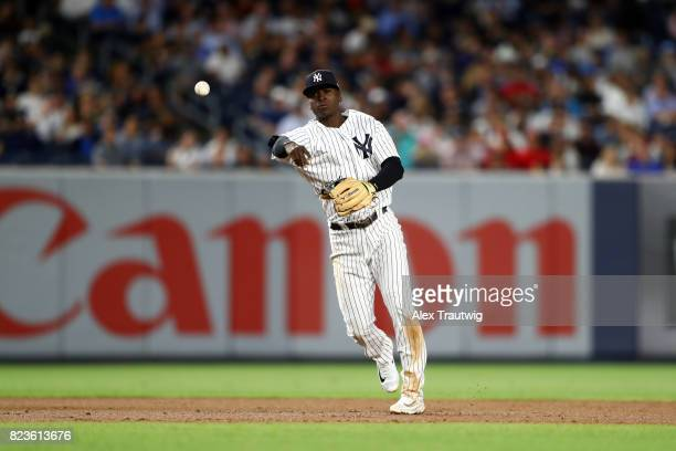 Didi Gregorius of the New York Yankees throws to first base during the game against the Cincinnati Reds at Yankee Stadium on Tuesday July 2017 in the...