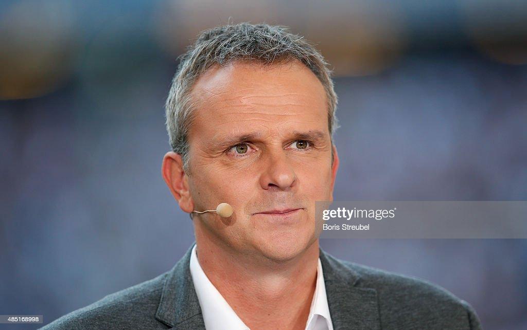 Didi Hamann, former football player and Sky tv expert looks on prior to the Bundesliga match between Hamburger SV and VfB Stuttgart at Volksparkstadion on August 22, 2015 in Hamburg, Germany.