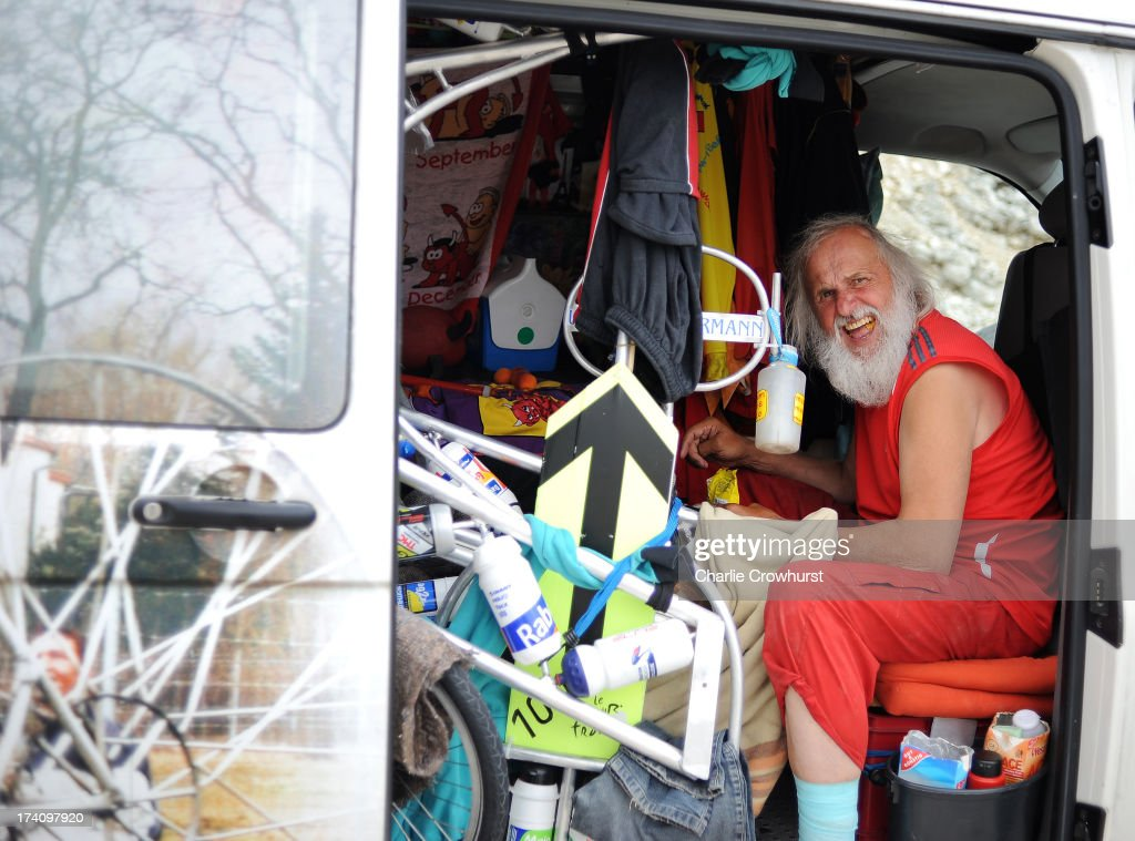Didi Senft, El Diablo, has some lunch in his van during stage fifteen of the 2013 Tour de France, a 242.5KM road stage from Givors to Mont Ventoux, on July 14, 2013 on Mont Ventoux, France.