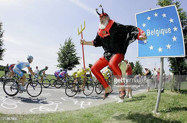 Didi Senft known as El Diablo cheers on the riders during Stage 3 of the 93rd Tour de France between EschsurAlzette and Valkenburg on July 4 2006 in...
