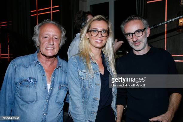 Didier Barbelivien his wife Laure and Vincent Delerm attend Claude Lelouch celebrates his 80th Birthday at Restaurant Victoria on October 30 2017 in...