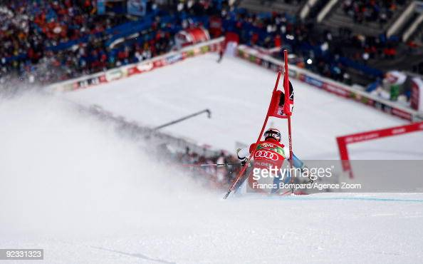 Didier Cuche from Switzerland takes 1st place during the Alpine FIS Ski World Cup Men's Giant Slalom on October 25 2009 in Solden Austria