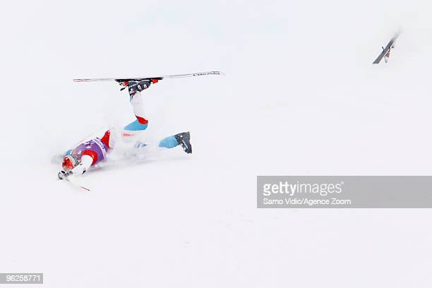 Didier Cuche of Switzerland falls during the Audi FIS Alpine Ski World Cup Men's Giant Slalom on January 29 2010 in Kranjska Gora Slovenia