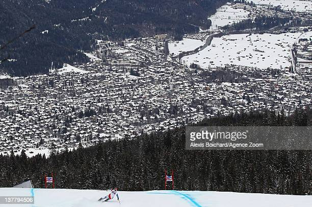 Didier Cuche of Switzerland skis during the Audi FIS Alpine Ski World Cup Men's Downhill Training on January 27 2012 in GarmischPartenkirchen Germany
