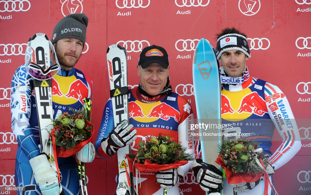 <a gi-track='captionPersonalityLinkClicked' href=/galleries/search?phrase=Didier+Cuche&family=editorial&specificpeople=238957 ng-click='$event.stopPropagation()'>Didier Cuche</a> of Switzerland takes 1st place, <a gi-track='captionPersonalityLinkClicked' href=/galleries/search?phrase=Bode+Miller&family=editorial&specificpeople=194742 ng-click='$event.stopPropagation()'>Bode Miller</a> of the USA takes 2nd place and <a gi-track='captionPersonalityLinkClicked' href=/galleries/search?phrase=Adrien+Theaux&family=editorial&specificpeople=2138351 ng-click='$event.stopPropagation()'>Adrien Theaux</a> of France takes 3rd place during the Audi FIS Alpine Ski World Cup Men's Downhill on January 22, 2011 in Kitzbuehel, Austria.