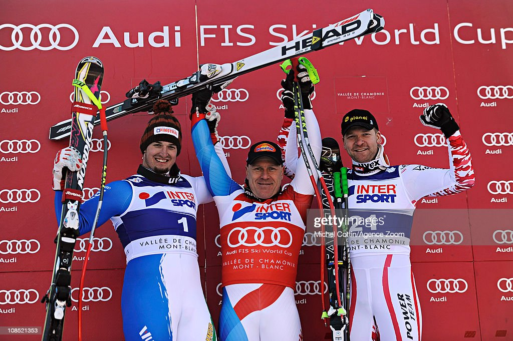 <a gi-track='captionPersonalityLinkClicked' href=/galleries/search?phrase=Didier+Cuche&family=editorial&specificpeople=238957 ng-click='$event.stopPropagation()'>Didier Cuche</a> of Switzerland takes 1st place, Dominik Paris of Italy takes 2nd place, Klaus Kroell of Austria takes 3rd place during the Audi FIS Alpine Ski World Cup Men's Downhill on January 29, 2011 in Chamonix, France.