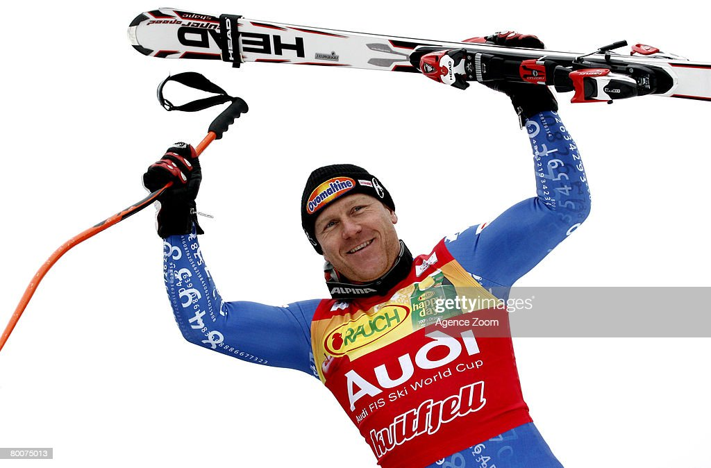 .Didier Cuche of Switzerland takes 2nd place during the Alpine FIS Ski World Cup. Men's Downhill on March 01, 2008 in Kvitfjell, Norway.