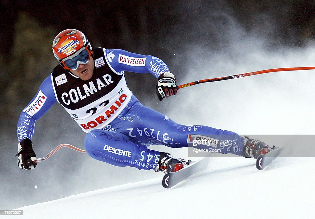 Didier Cuche of Switzerland takes 4th place during the Alpine FIS Ski World Cup Men's Downhill on December 29, 2007 in Bormio, Italy.