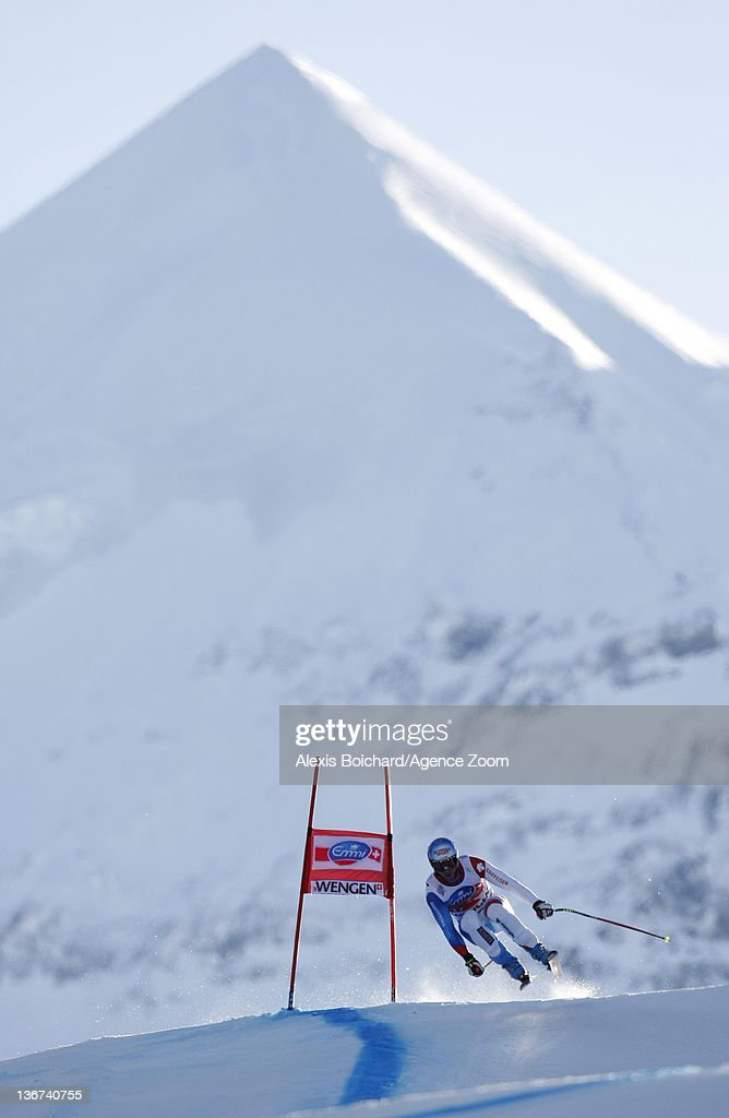 Didier Defago of Switzerland attends the Audi FIS Alpine Ski World Cup Men's Downhill training on January 11, 2012 in Wengen, Switzerland.